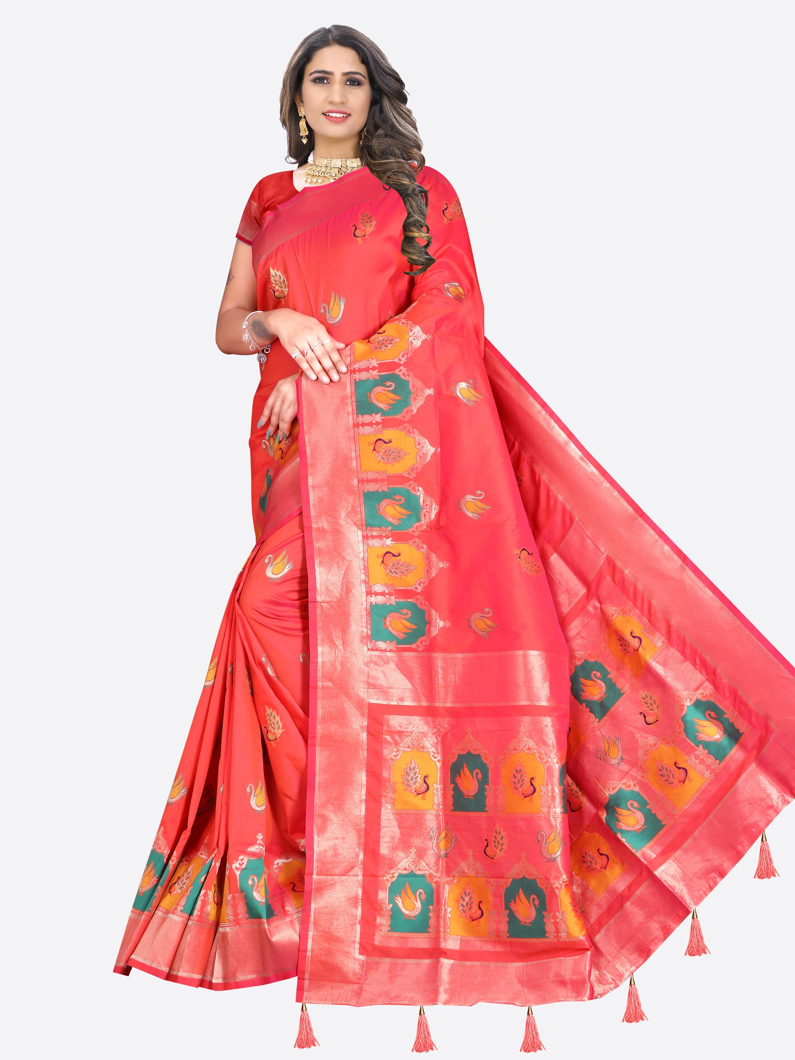 Glemora | Glemora Saree for Women Banarasi Silk With Blouse, Women Silk Sarees ( Light Pink )