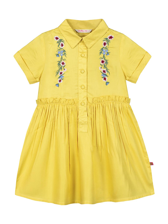 Budding Bees | Budding Bees Girls  Embroidered Shirt Collar Dress-Yellow