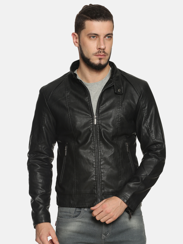 Showoff   Men Black Solid Leather jacket with Detachable Hood
