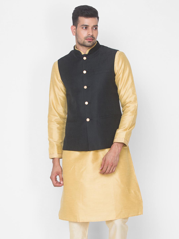 Ethnicity | Black Solid sleeveless jacket