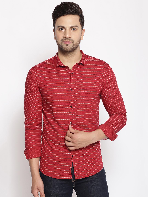 Showoff   SHOWOFF Men's  Cotton  Red Stripes Slim Fit Shirt