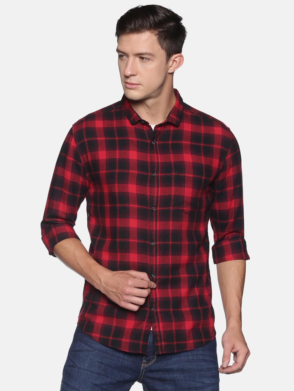 Showoff | SHOWOFF Men's  Cotton Casual RedBlack Checks Slim Fit Shirt