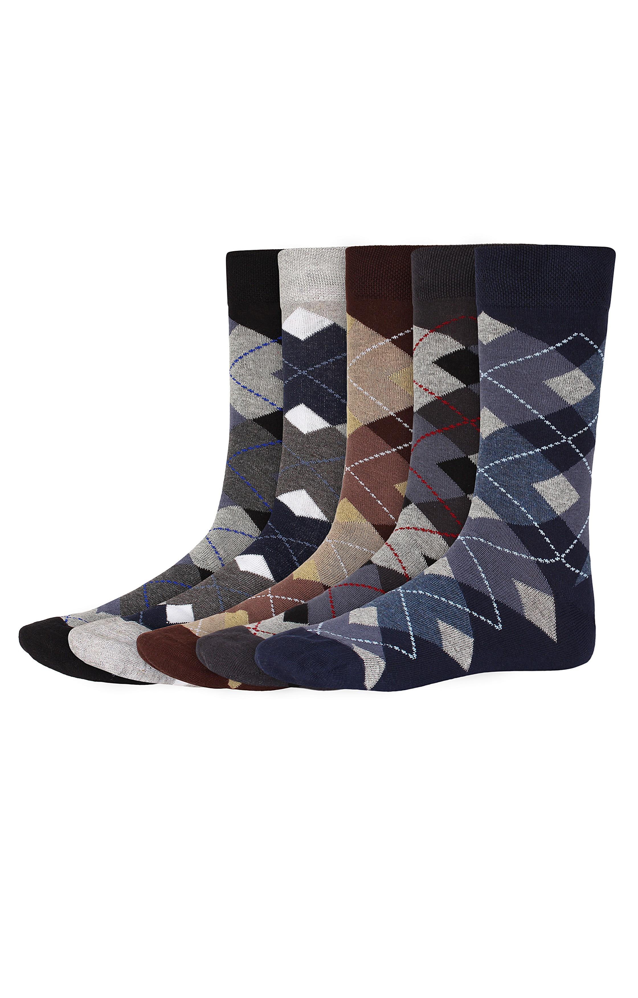 SIDEWOK | SIDEWOK Calf Length Patterned Multicolour Cotton Socks for Men (Pack of 5 Pairs)