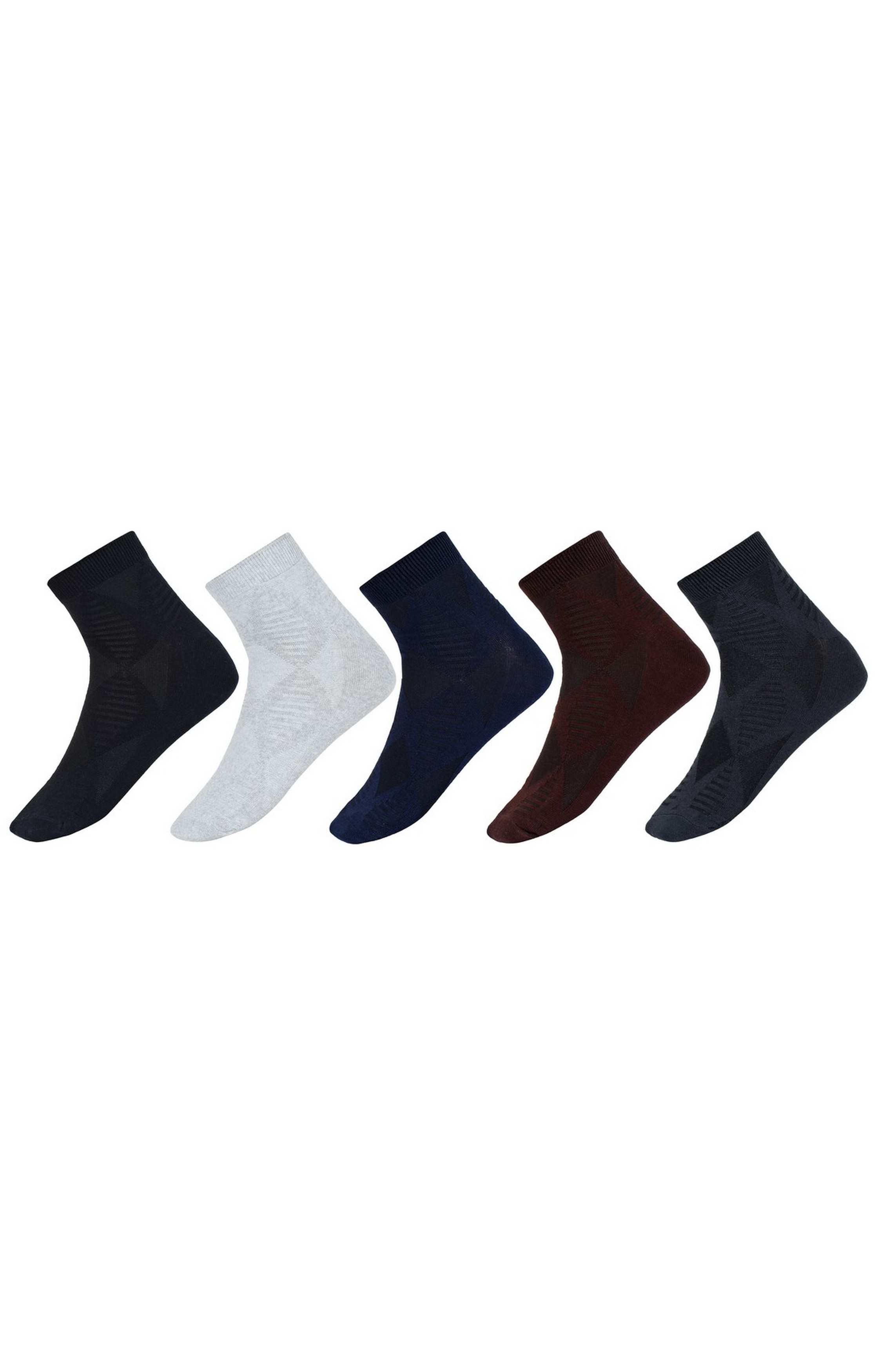 SIDEWOK | SIDEWOK Ankle Length Solid Multicolour Cotton Socks for Men (Pack of 5 Pairs)