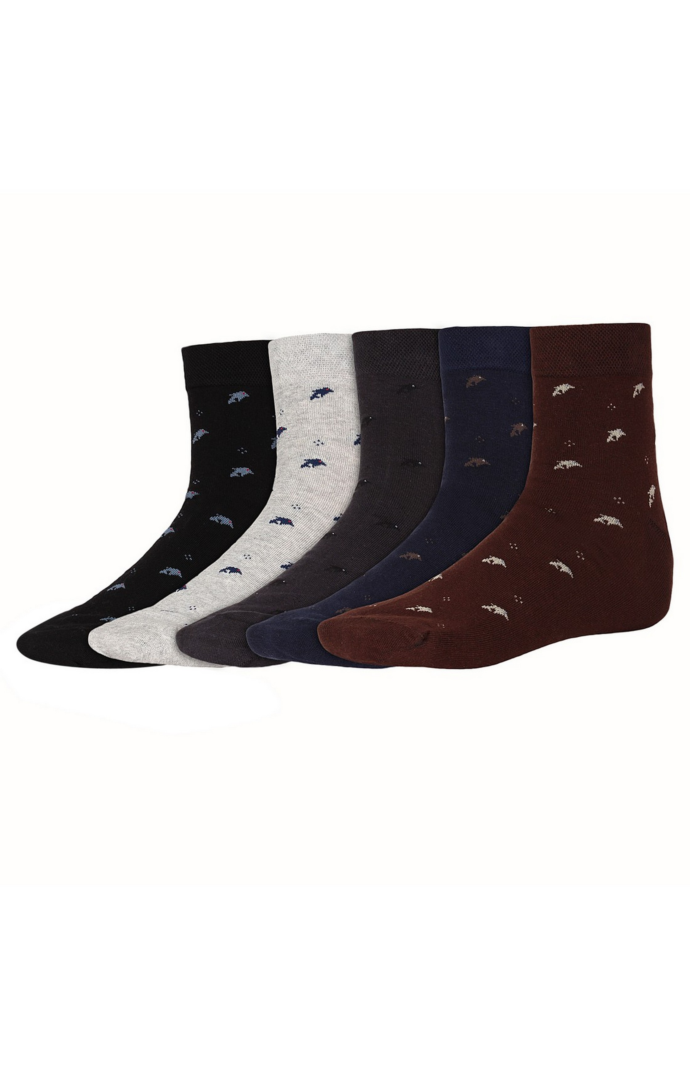 SIDEWOK | SIDEWOK Ankle Length Printed Multicolour Cotton Socks for Men (Pack of 5 Pairs)