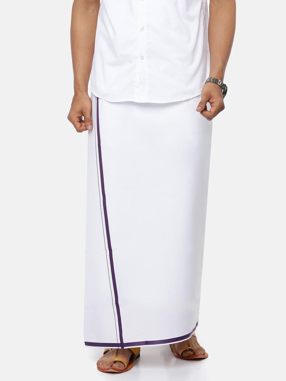 Ramraj Cotton | RAMRAJ COTTON Men's Cotton Plain White Dhoti with Navy Border