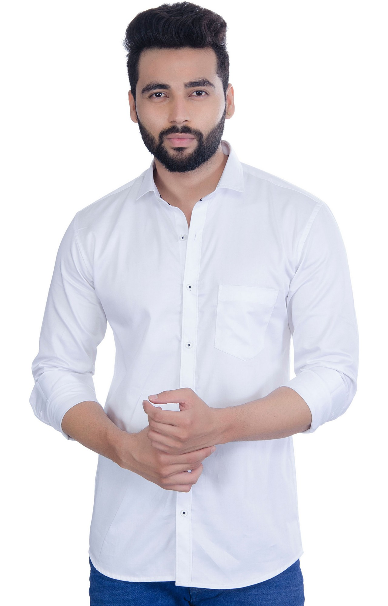 5th Anfold | FIFTH ANFOLD Men's White Casual Slim Collar Full/Long Sleev Slim Fit Shirt