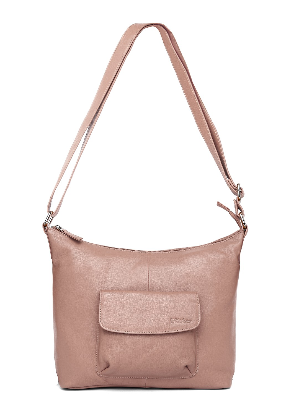 WildHorn | WildHorn Upper Grain Genuine Leather Ladies Tote, Sling, Shoulder, Hand Bag with Adjustable Strap - Pink