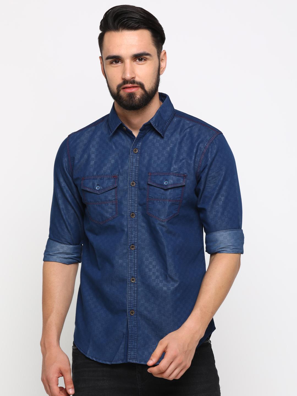 With | With Men's NavyBlue Denim Checks SlimFit Shirt
