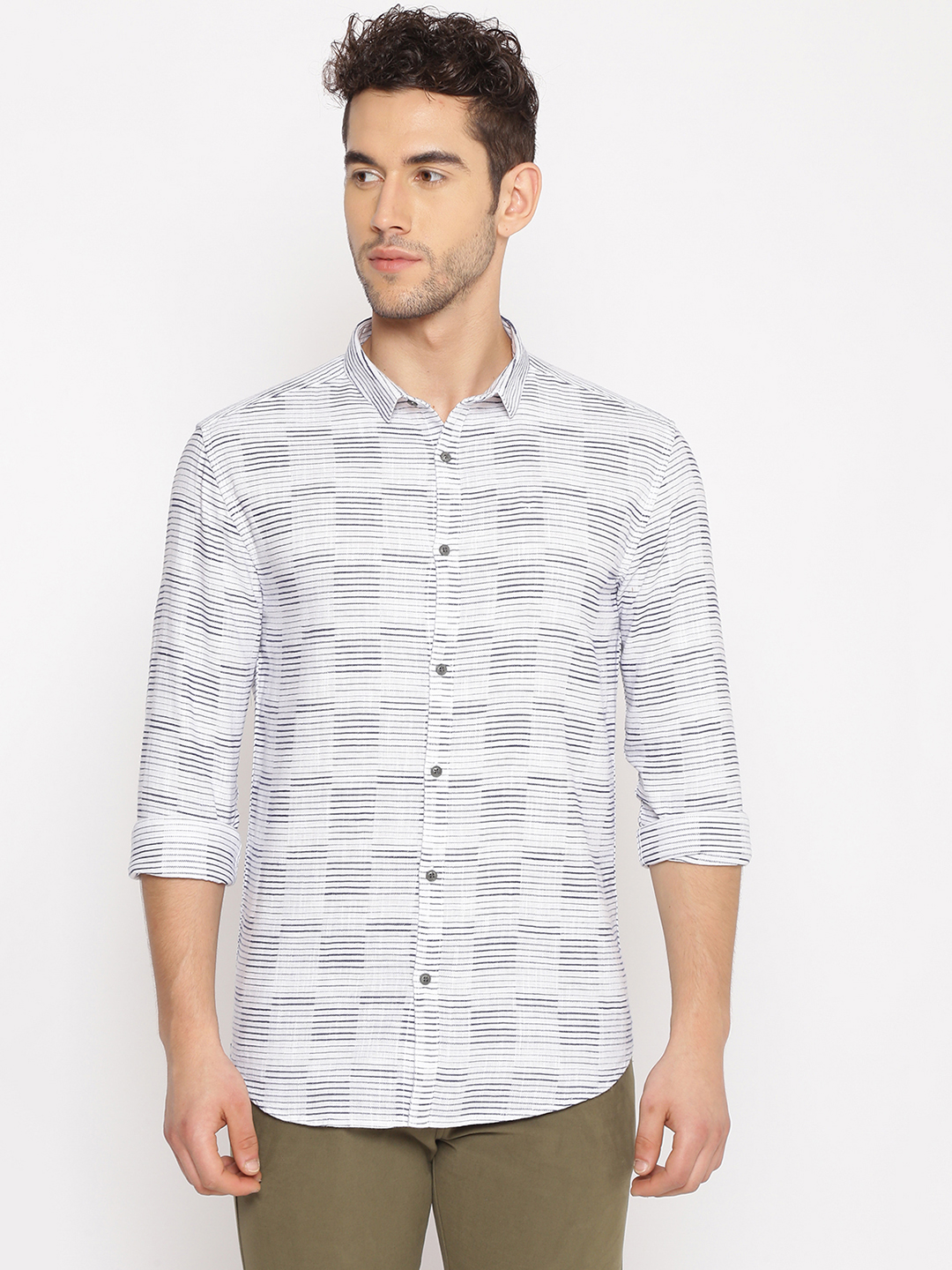 Showoff | SHOWOFF Men's  Cotton Casual White Printed Slim Fit Shirt