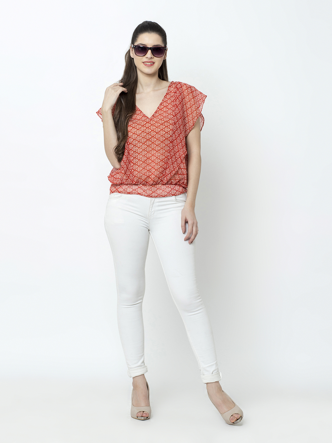 SQew   SQew Women Polyester Red Tops