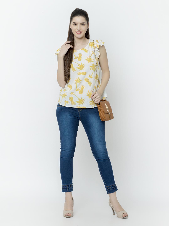 SQew | SQew Women Linen Yellow Tops