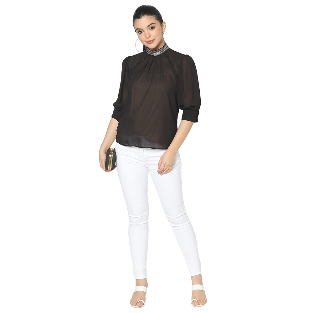 SQew | Sqew Women Black Puff Sleeves Georgette Regular Top