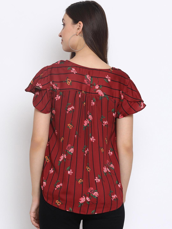 SQew   SQew Women Polyester Maroon Tops