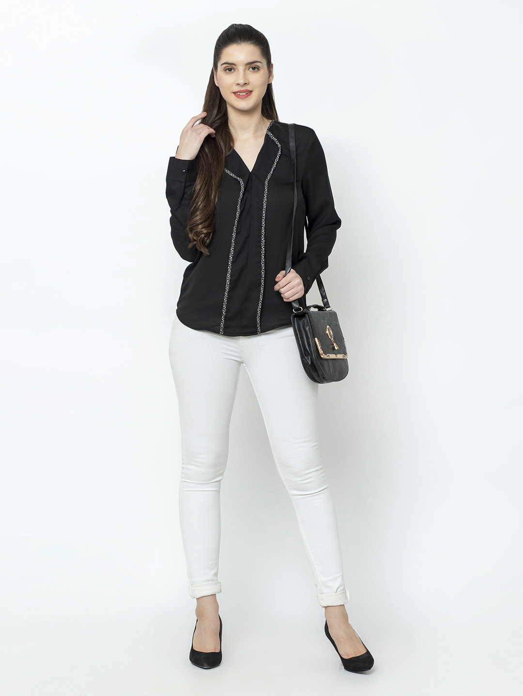 SQew | SQew Women Polyester Black Tops