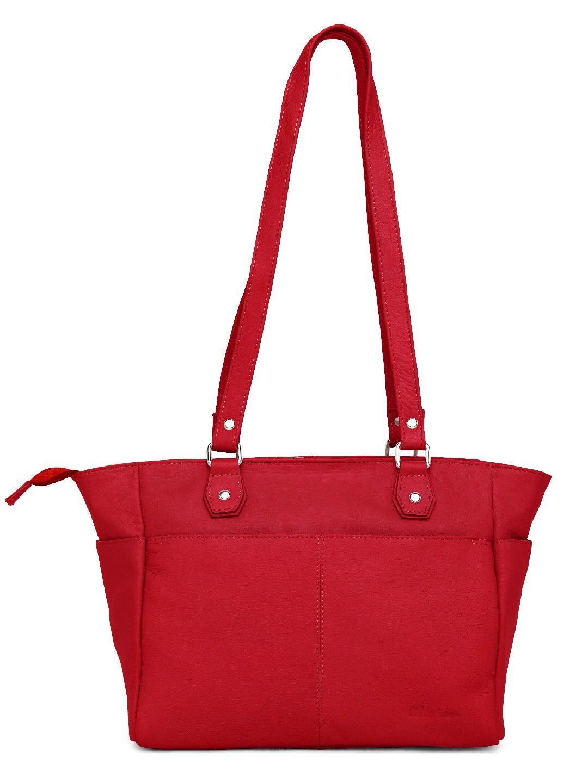 WildHorn   WildHorn Upper Grain Genuine Leather Ladies Tote, Shoulder, Hand, Shoulder Bag - Red