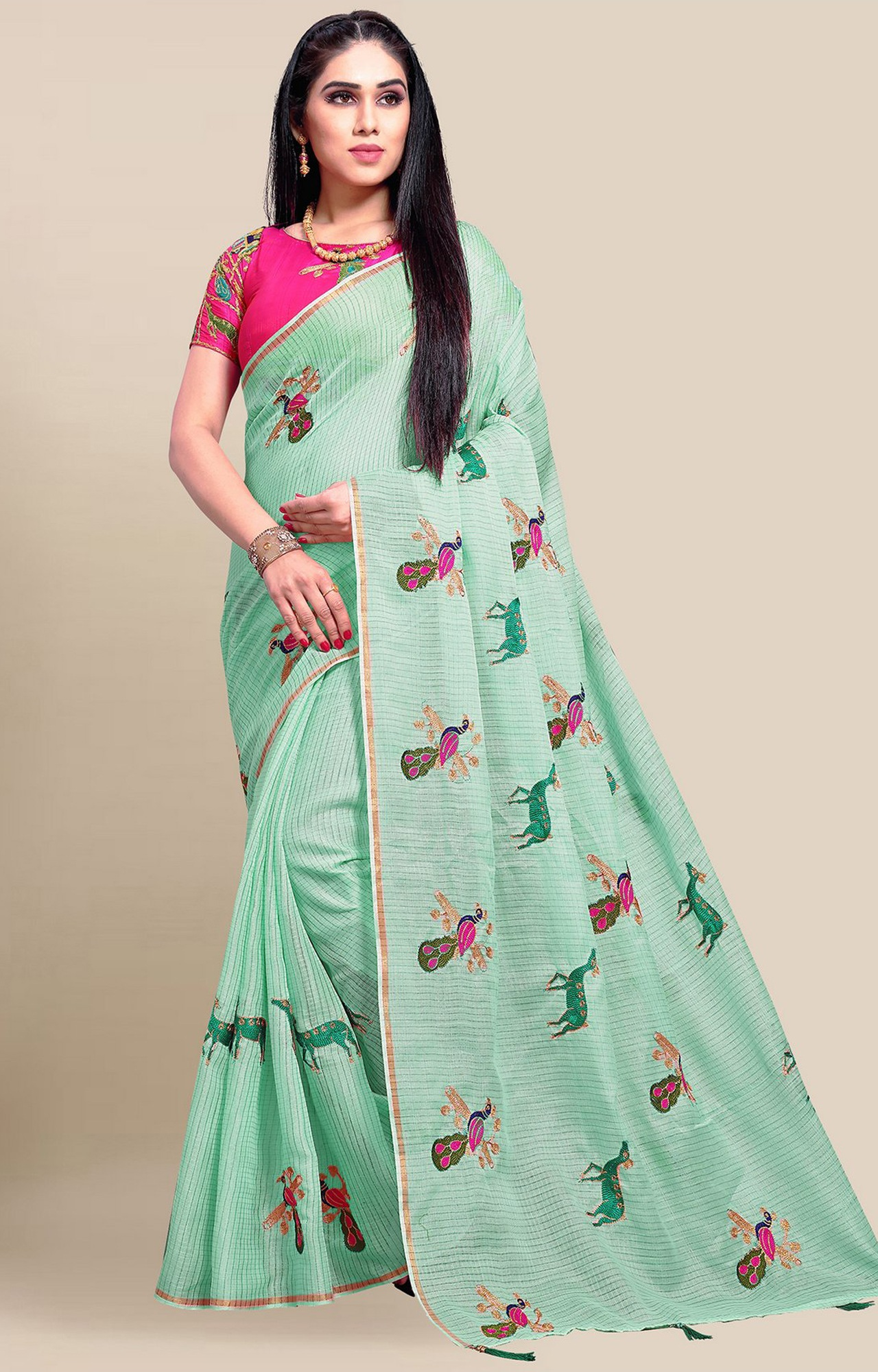 SATIMA | Green Embroidery Cotton Linen Solid Saree