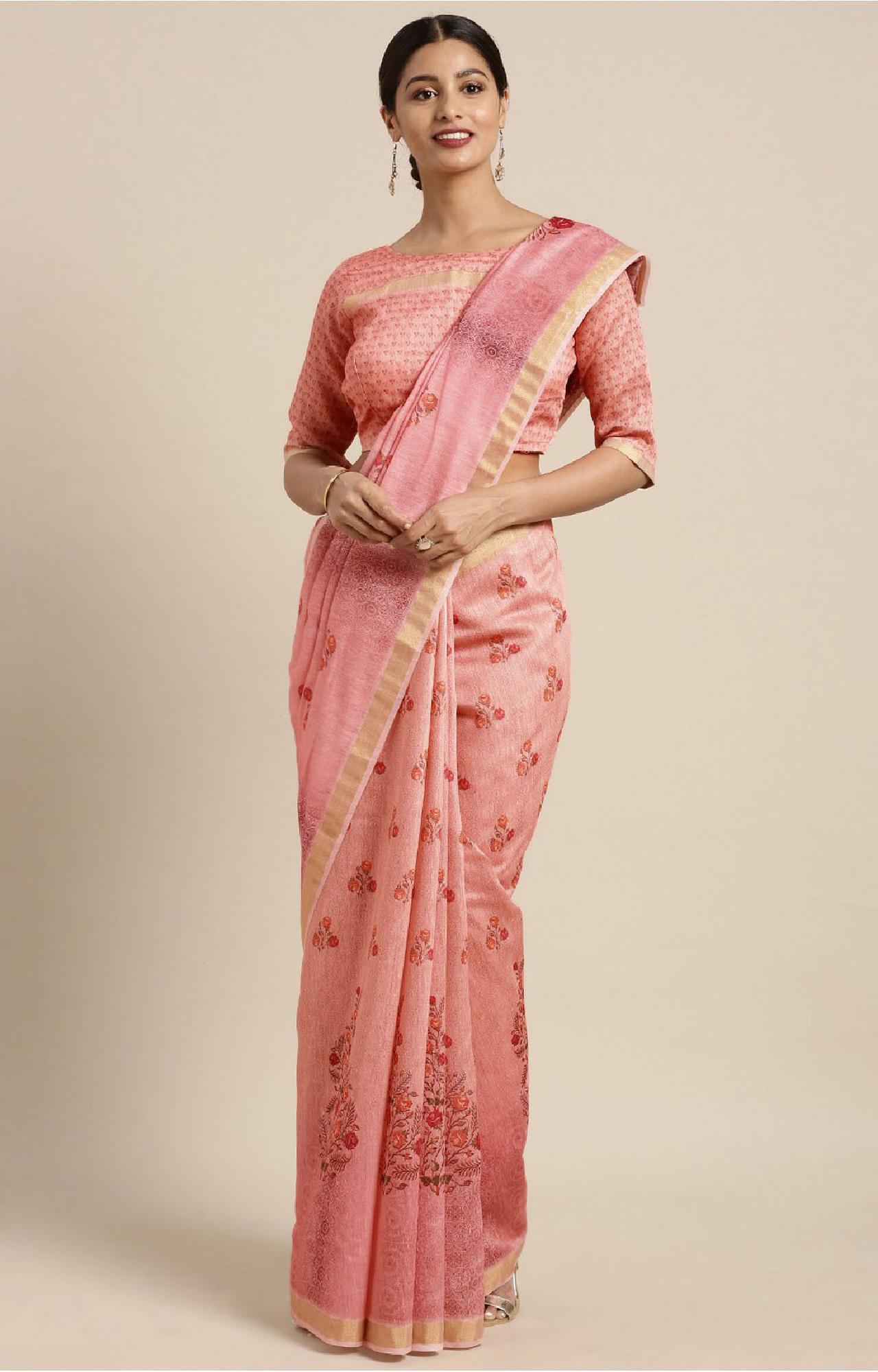SATIMA | Pink and Multi Linen Cotton Floral Print Saree