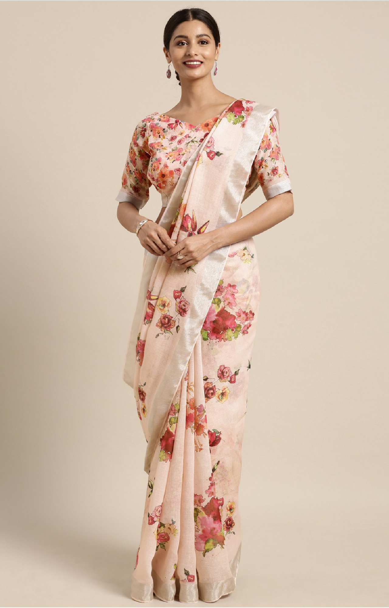 SATIMA | Peach and Multi Linen Cotton Floral Print Saree