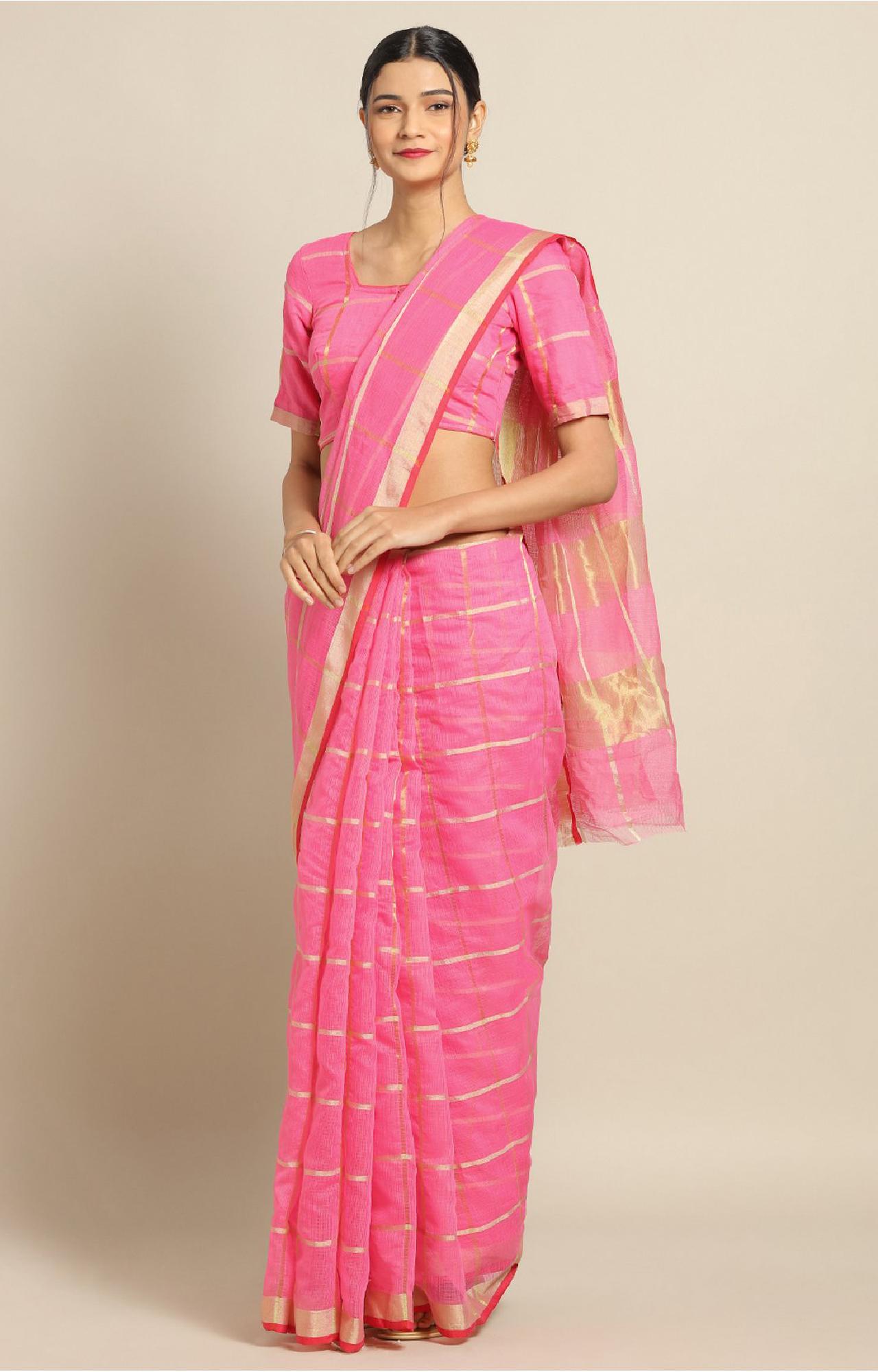 SATIMA | Pink Cotton Silk Weaving Saree
