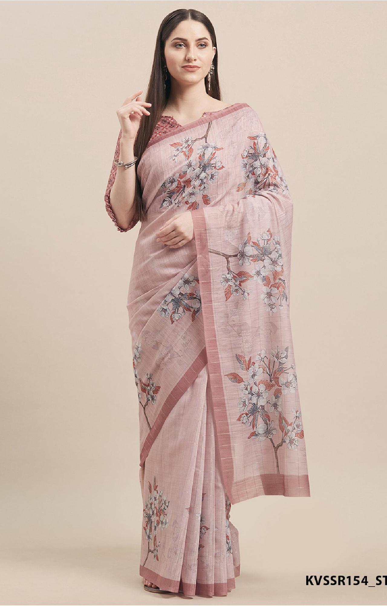 SATIMA | Pink Linen Cotton Floral Print with Weaving Checks