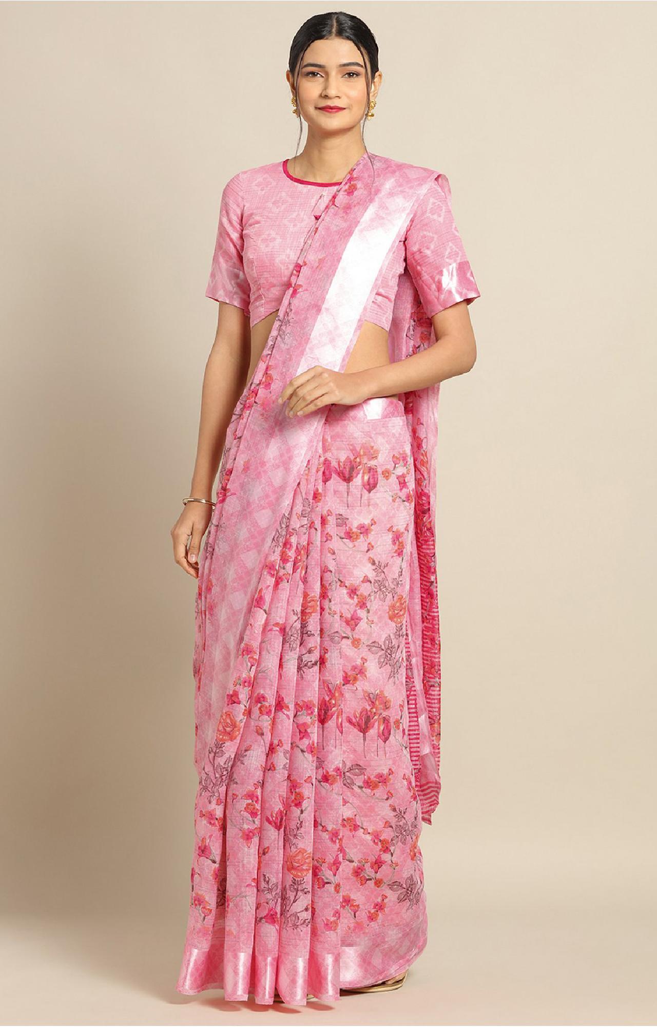 SATIMA | Pink Linen Cotton Flower Print with Satin Border