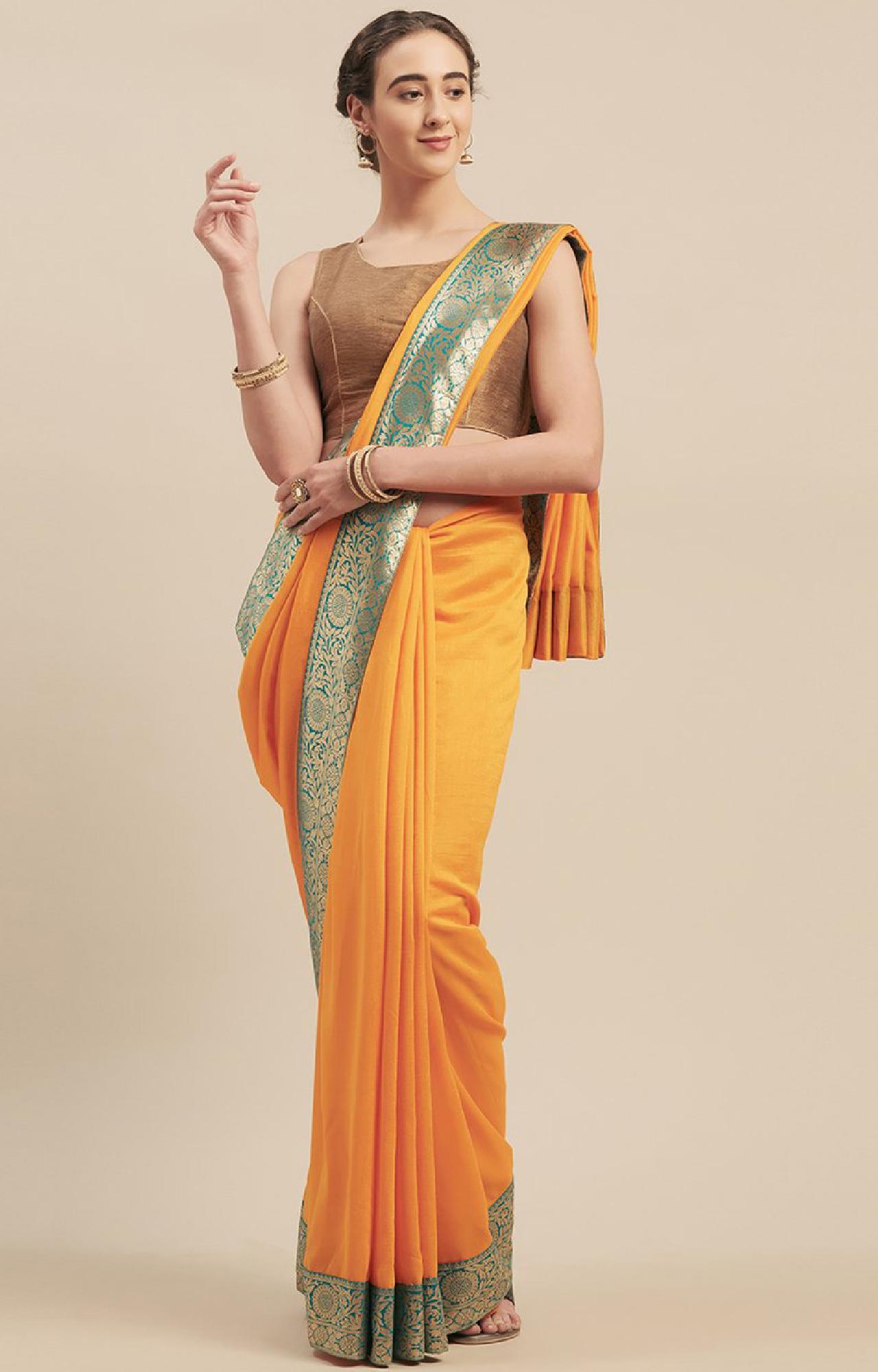 SATIMA | Yellow Georgette Weaving Border Saree