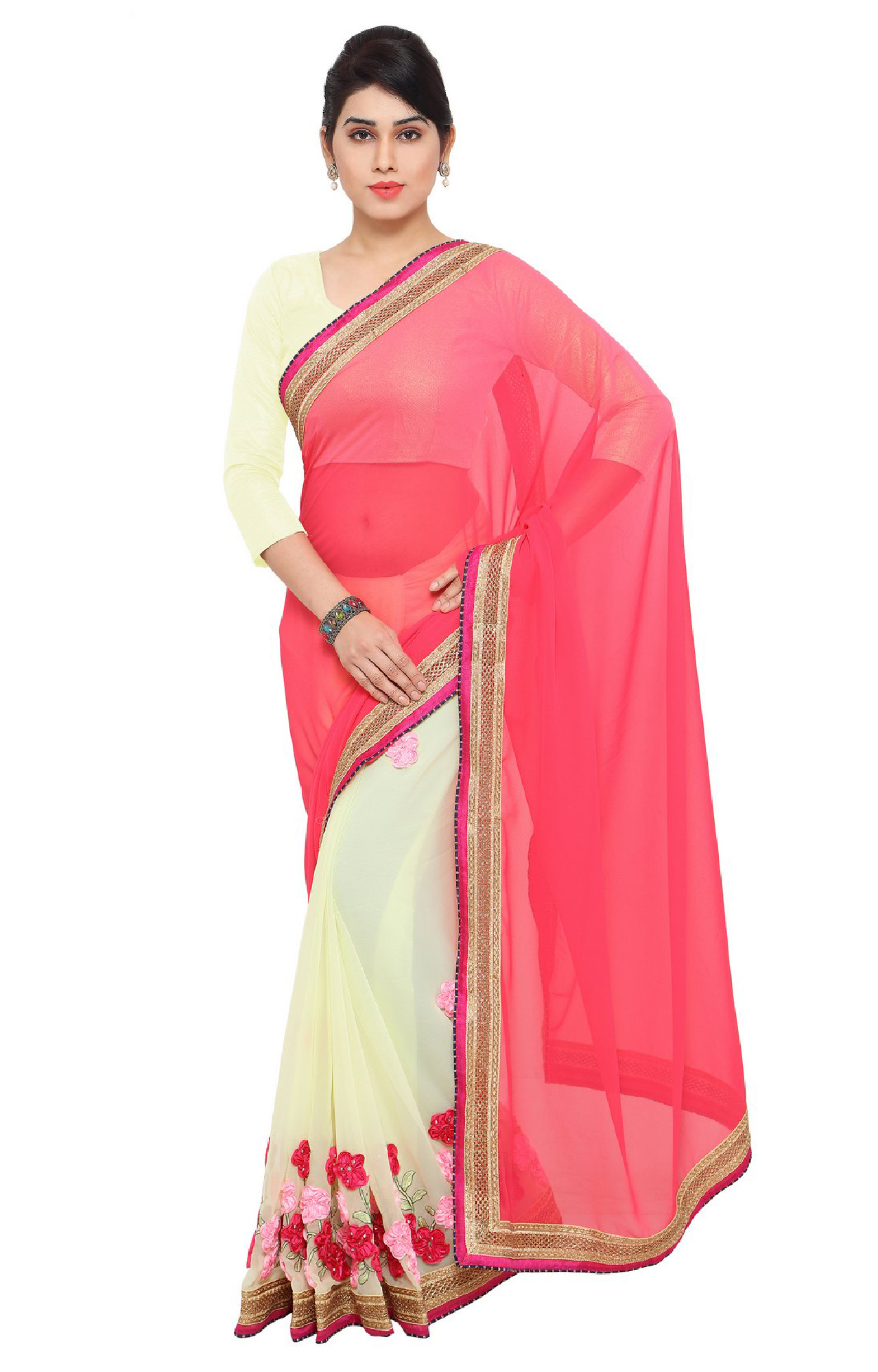 SATIMA | Pink and White Georgette Embroiderd Saree
