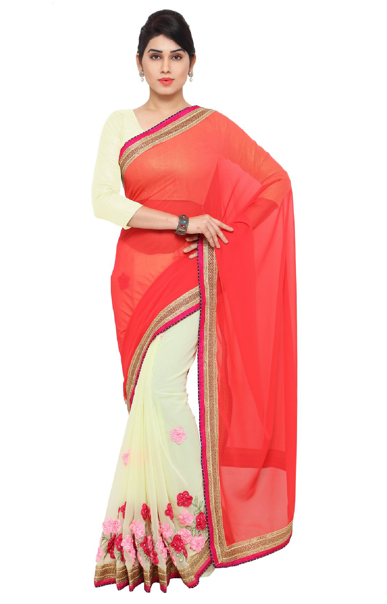 SATIMA | Pink and Georgette Embroiderd Saree