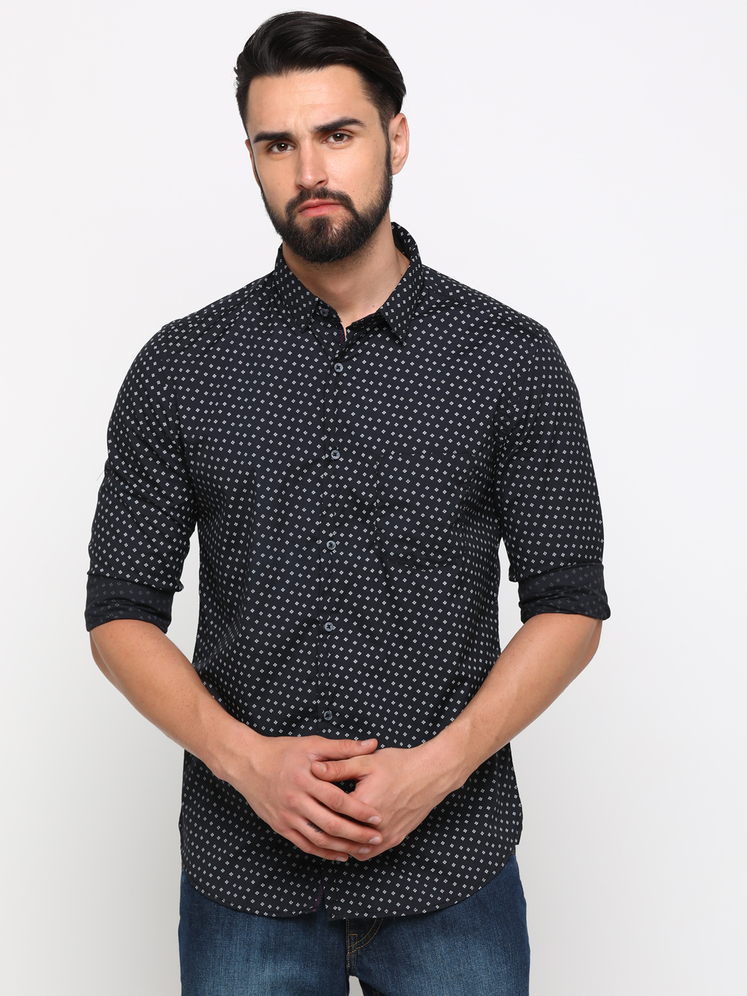 With | With Men's NavyBlue Cotton Printed SlimFit Shirt