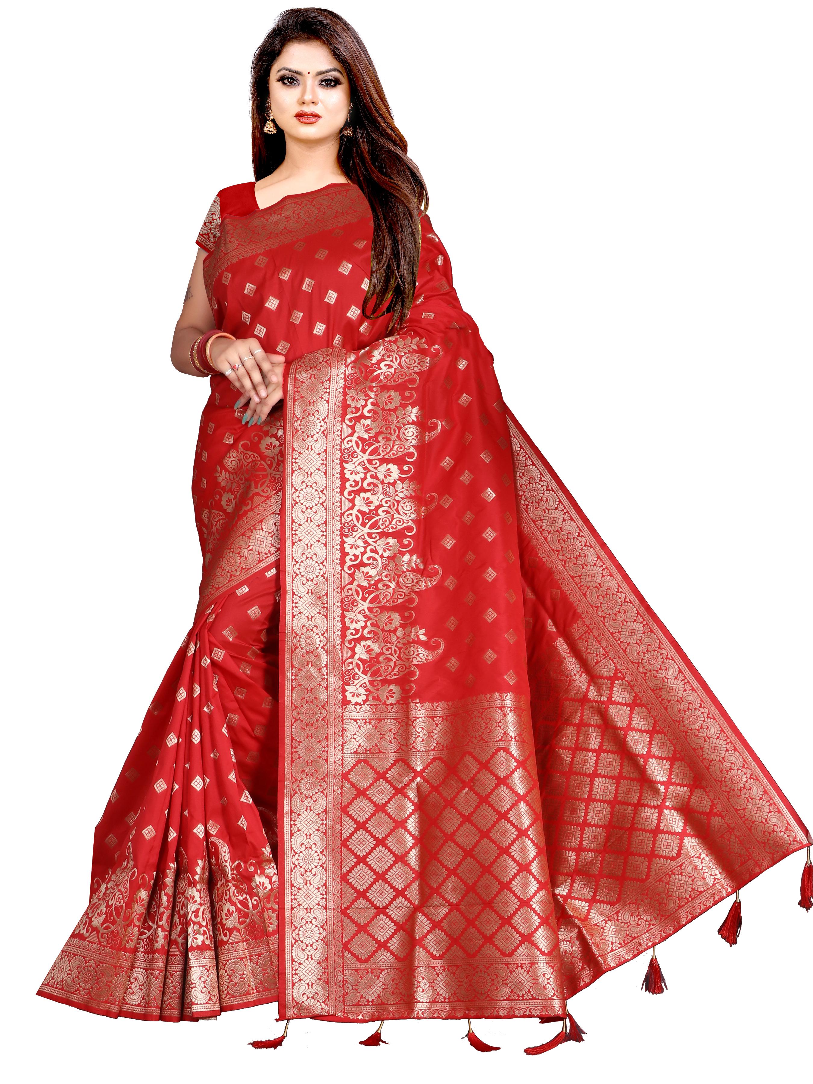 Glemora Saree for Women Banarasi Silk With Blouse, Women Silk Sarees ( Red )