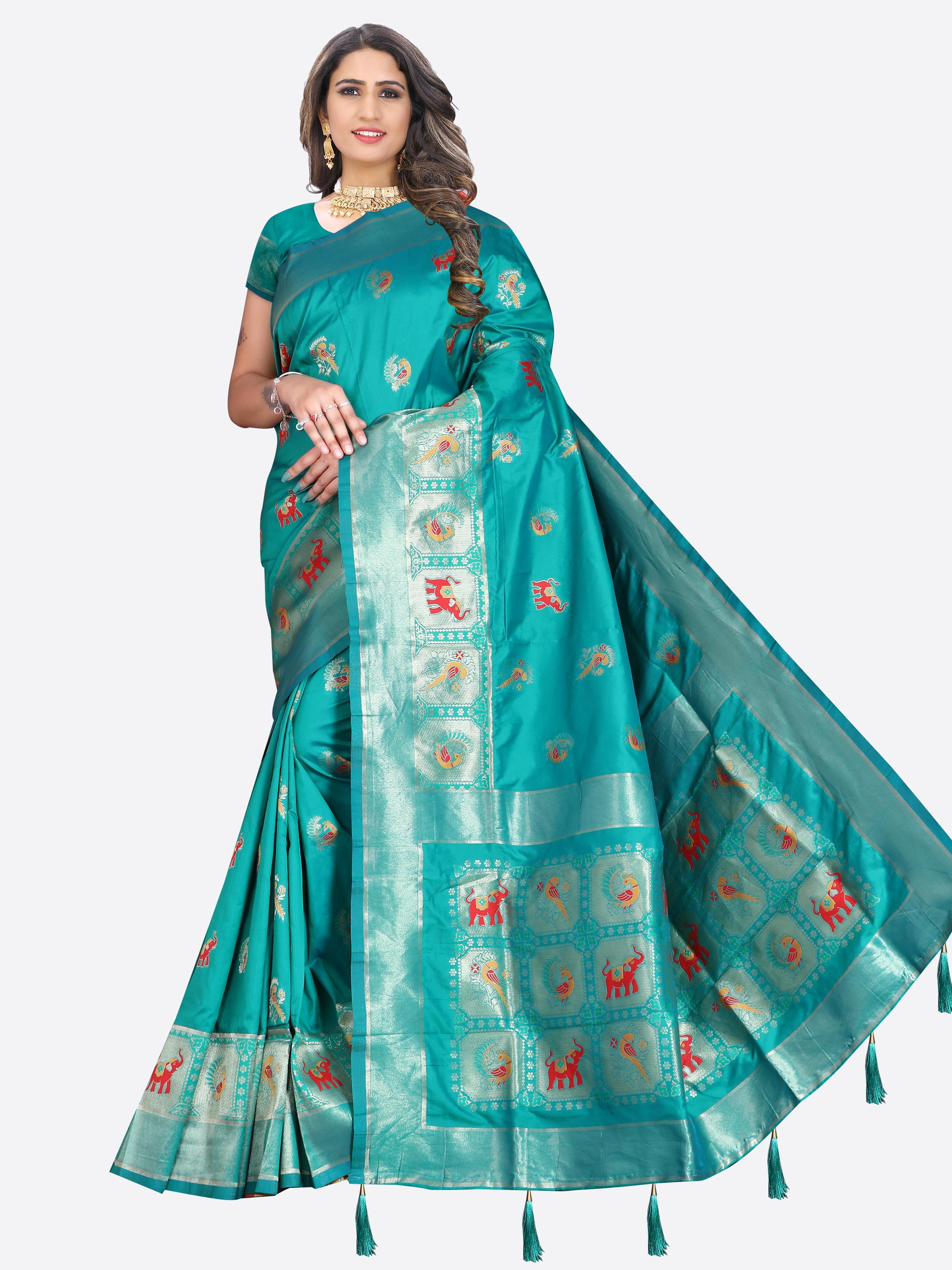 Glemora   Glemora Saree for Women Banarasi Silk With Blouse, Women Silk Sarees ( Green )