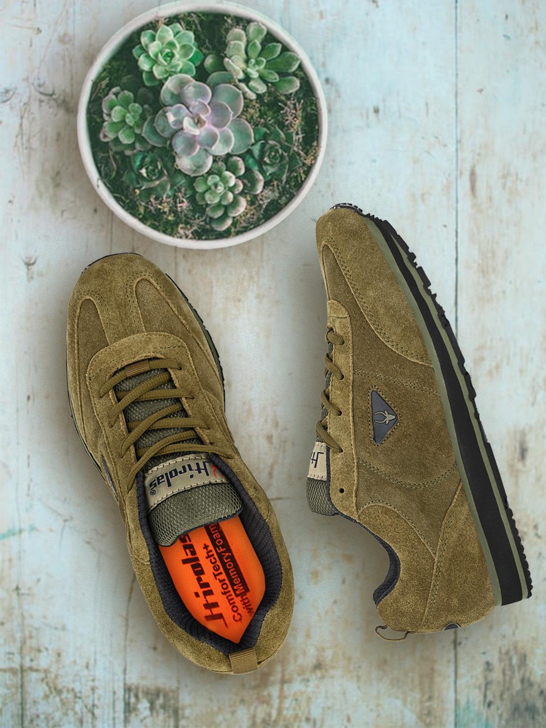 Hirolas | Hirolas® Men's Leather Multi Sport Shock Absorbing Walking  Running Fitness Athletic Training Sneaker Shoes - Olive