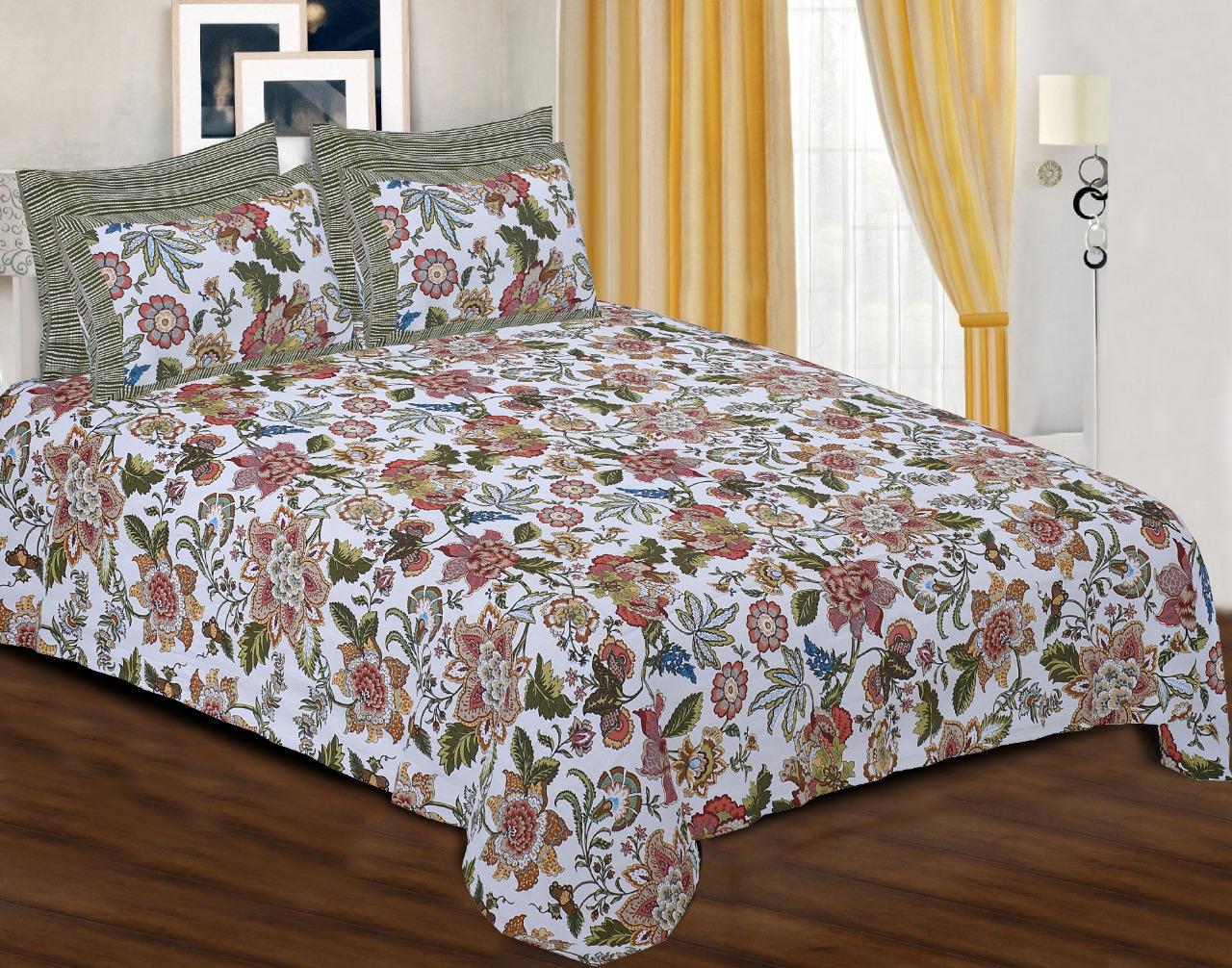 Pinkblock.in   Snowy Cotton Printed Bedsheet