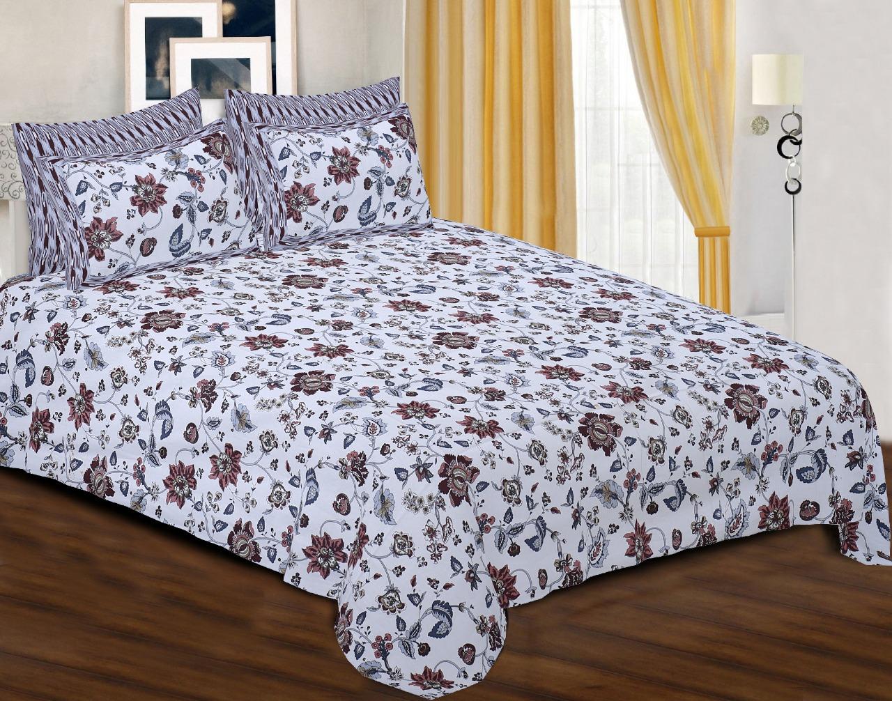 Pinkblock.in | Snowy Cotton Printed Bedsheet