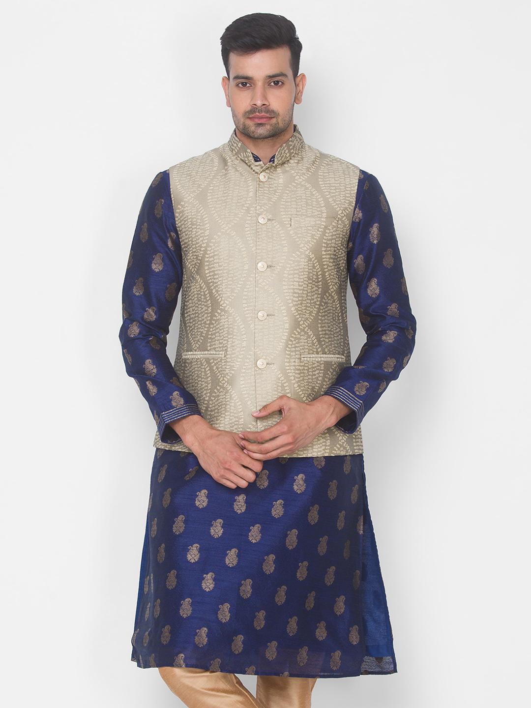 Ethnicity | Beige Jacquard sleeveless jacket