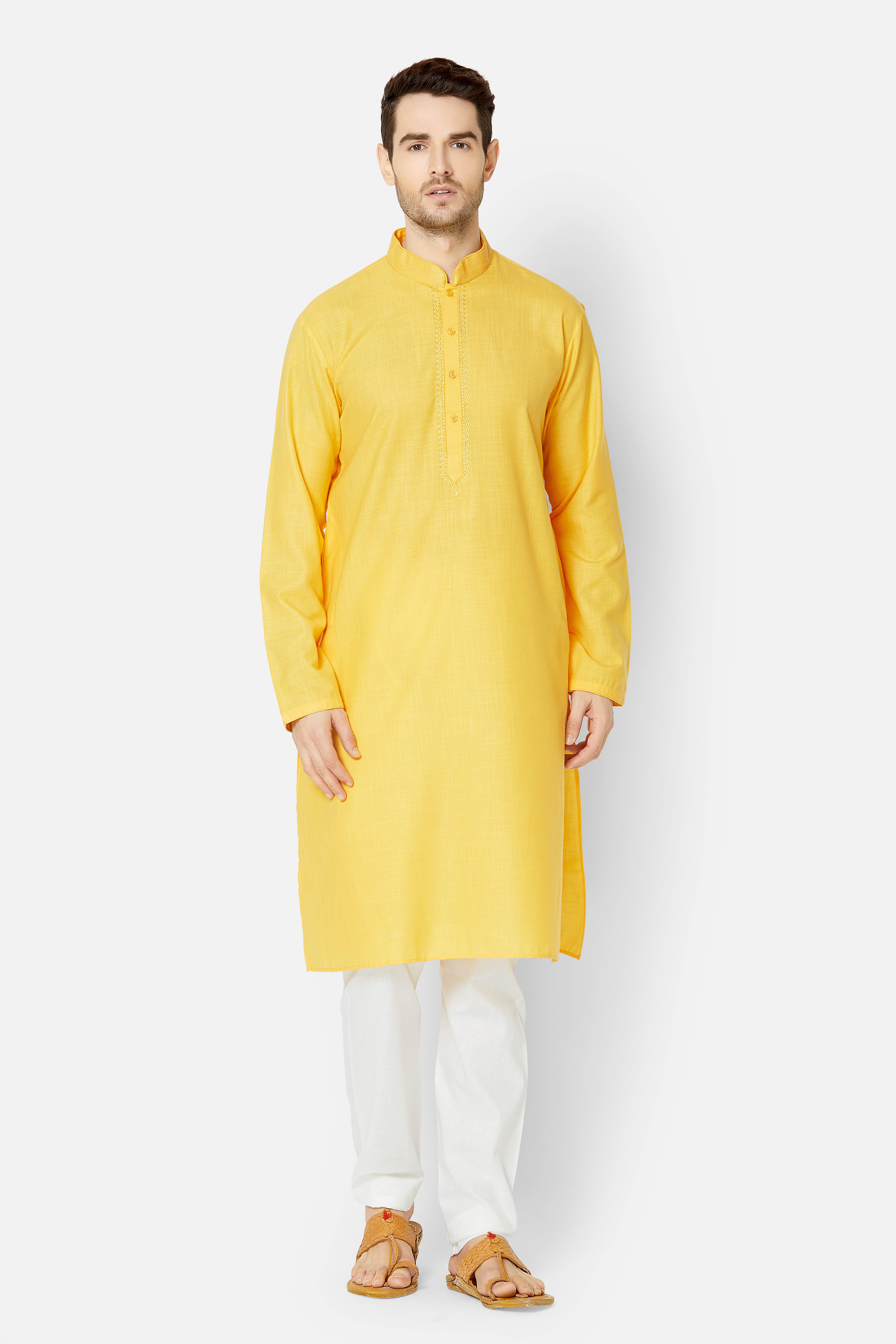 Ethnicity   Ethnicity Full sleeve Yellow Kurta set