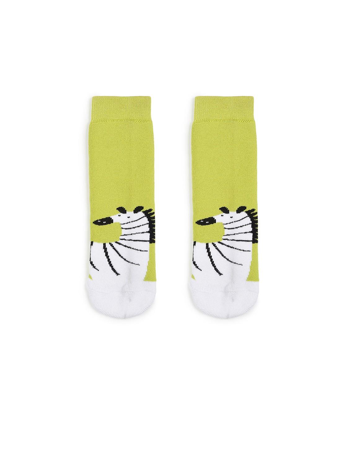 Soxytoes | Soxytoes Zebra Cotton Crew Length Green Kids Socks-Age (2-4 Years)