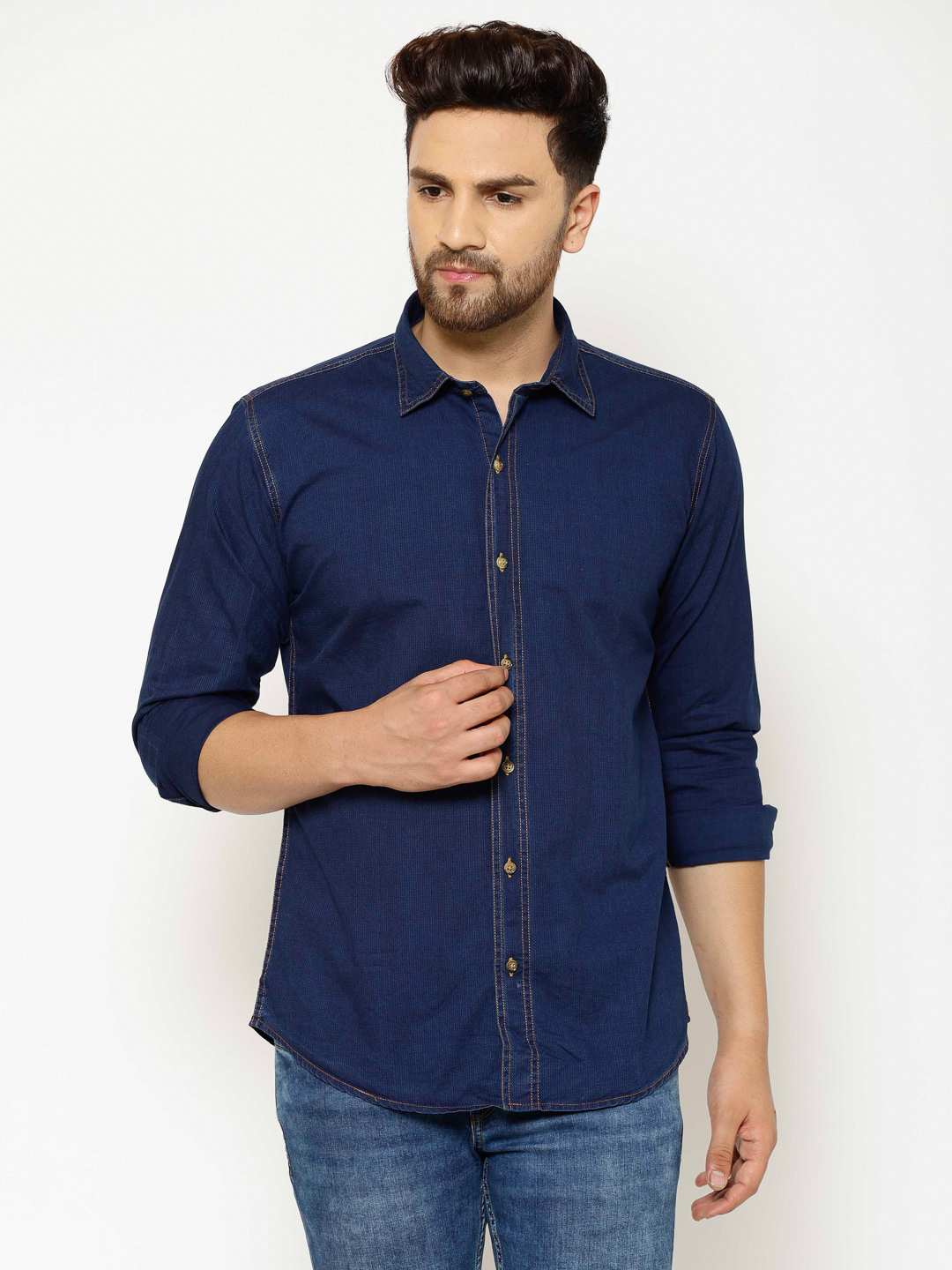 Eppe | EPPE Men's Solid Smart Fit Full Sleeves Casual Denim Shirt