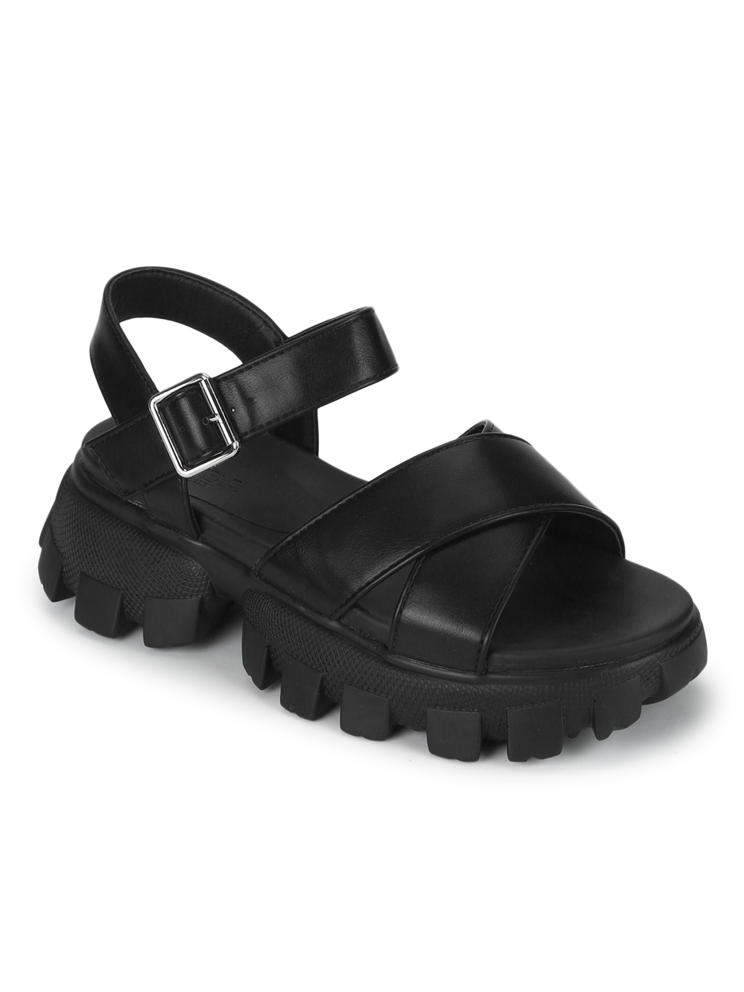 Truffle Collection   Truffle Collection Black PU Cleated Bottom Chunky Sandals With Buckle