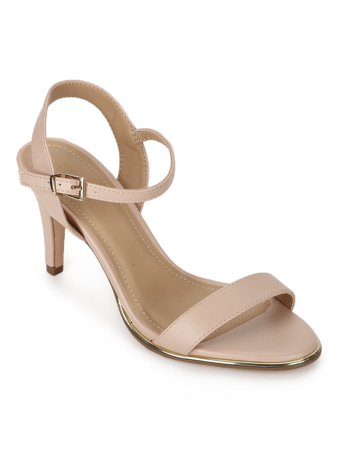 Truffle Collection | Truffle Collection Nude PU Buckled Ankle Strap Stilettos
