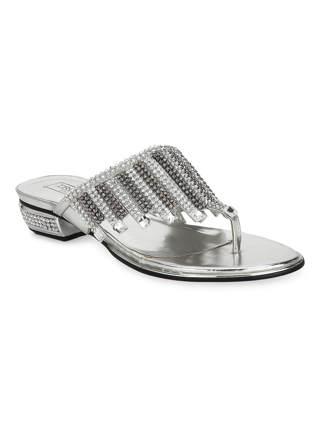 Truffle Collection | Silver Patent Slip On Diamante Sandals