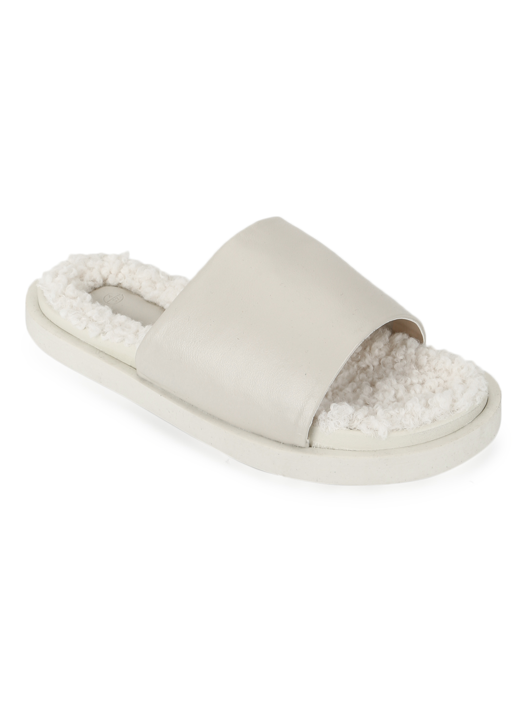 Truffle Collection   Truffle Collection White PU Faux Fur Fuzzy Slip Ons