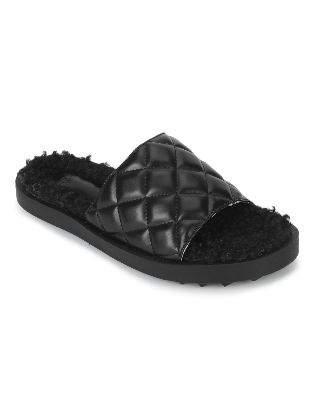 Truffle Collection | Truffle Collection Black PU Faux Fur Quilted Slip Ons