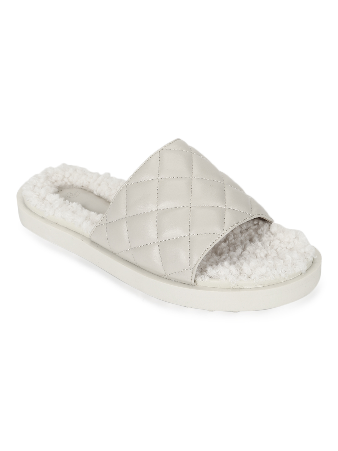 Truffle Collection   Truffle Collection White PU Faux Fur Quilted Slip Ons
