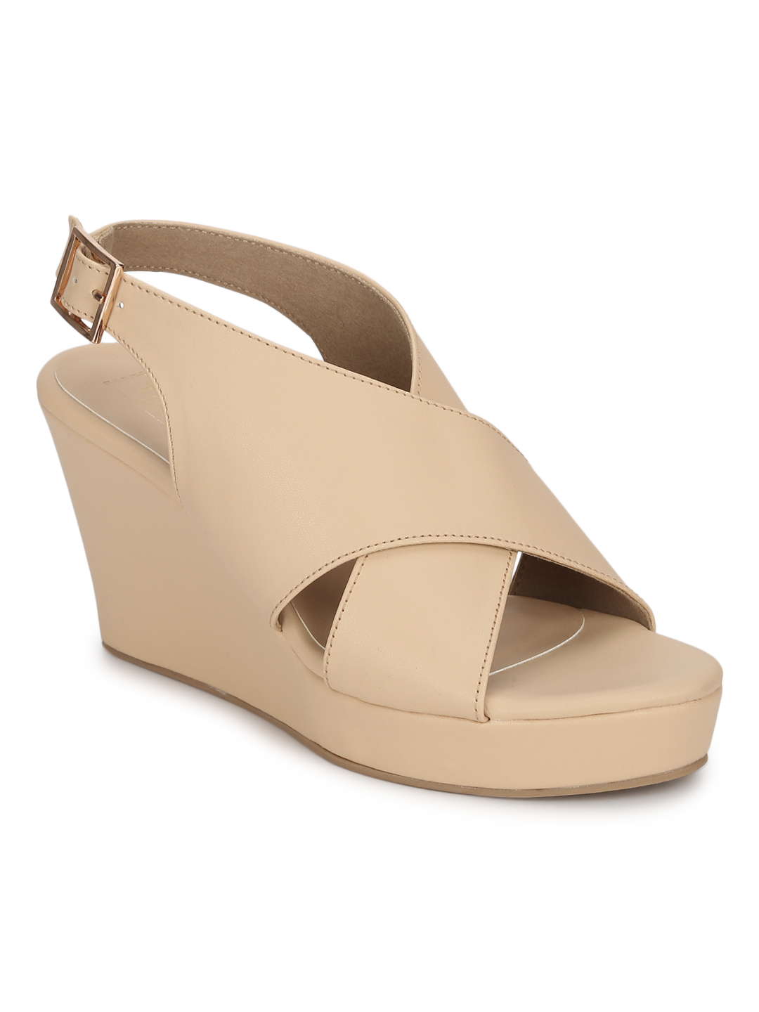 Truffle Collection | Nude PU Wedges With Crossover Straps