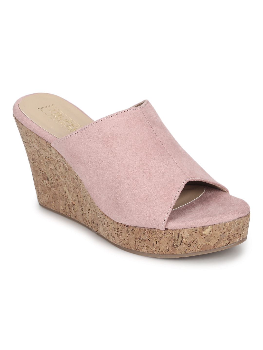 Truffle Collection | Pink Micro Peep Toe Slip On Wedges