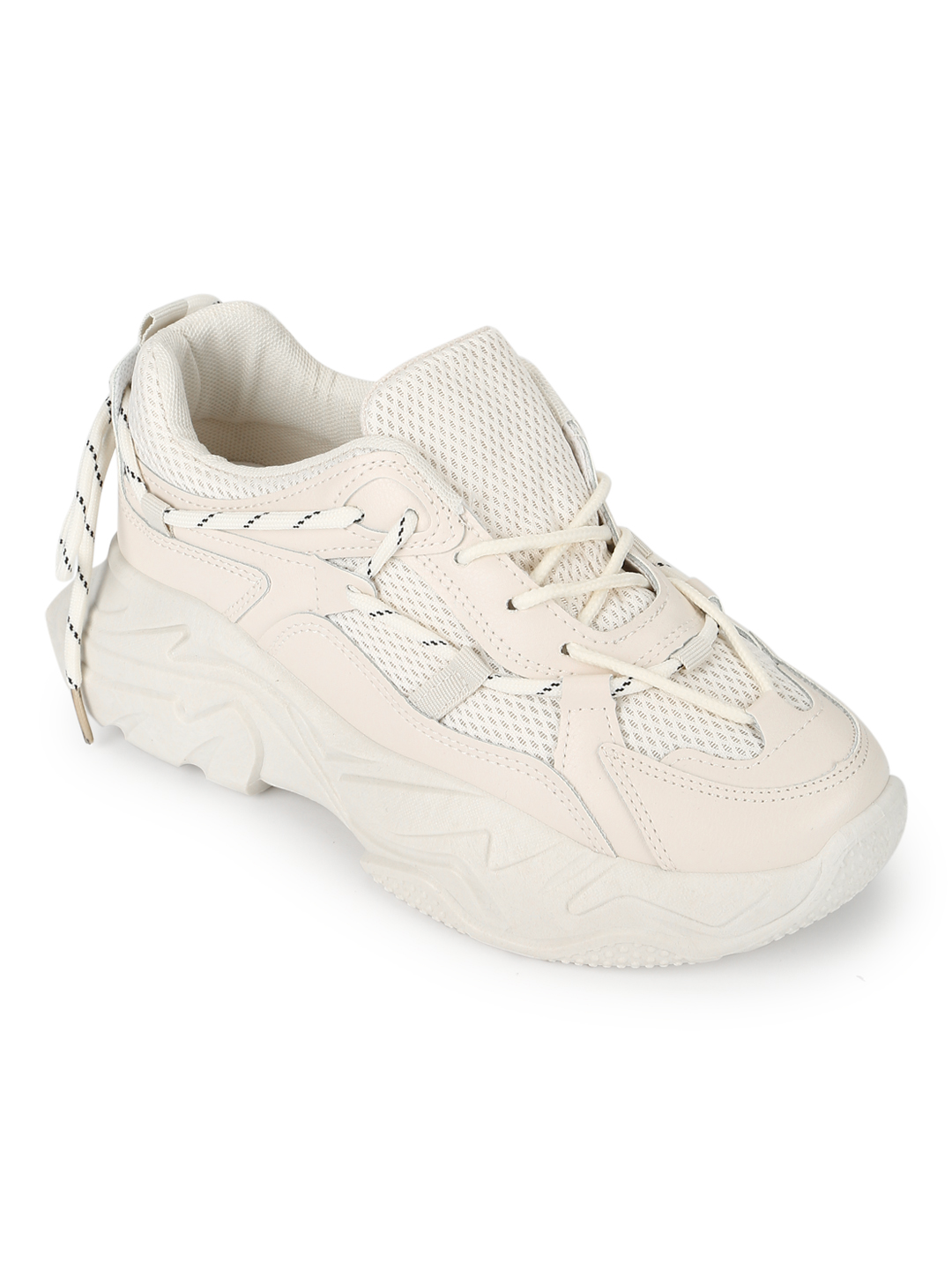 Truffle Collection | Truffle Collection Total Sand PU Side Lace Pattern Chunky Sneakers