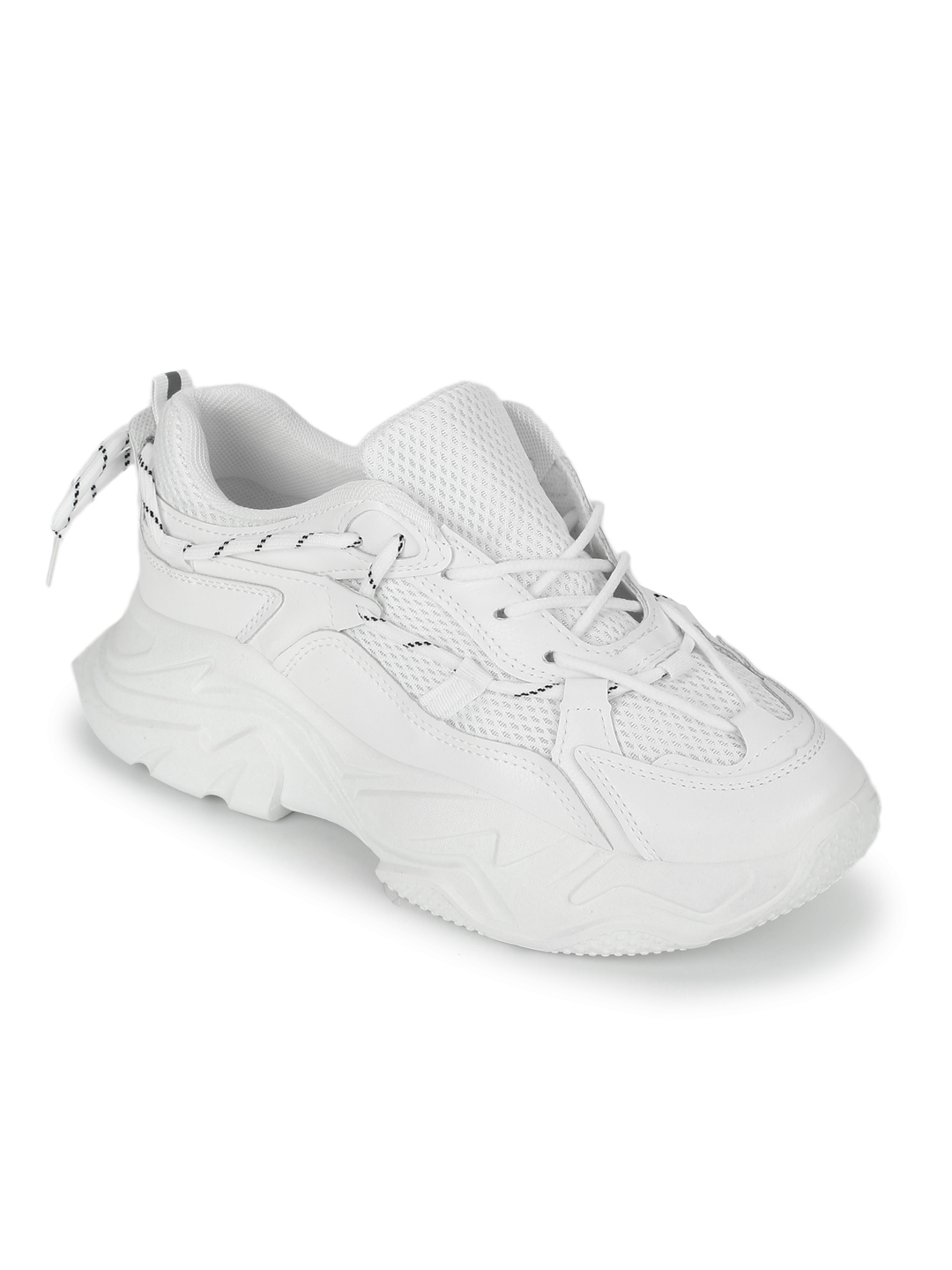 Truffle Collection | Truffle Collection Total White PU Side Lace Pattern Chunky Sneakers