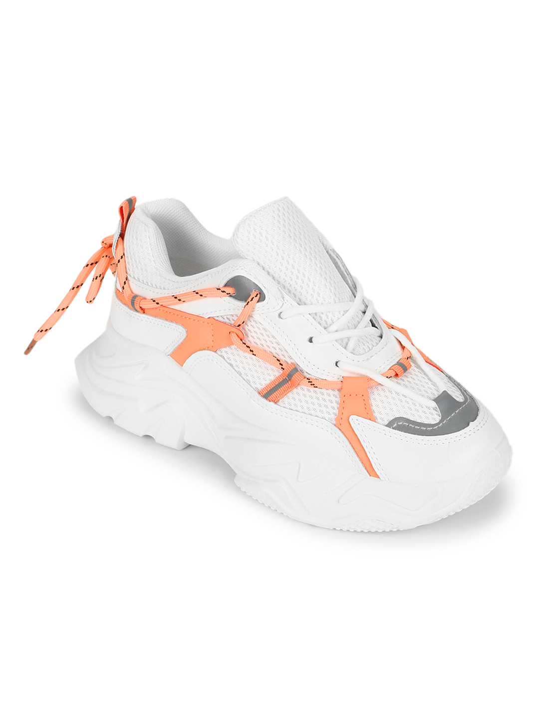 Truffle Collection | Truffle Collection Orange PU Side Lace Pattern Chunky Sneakers